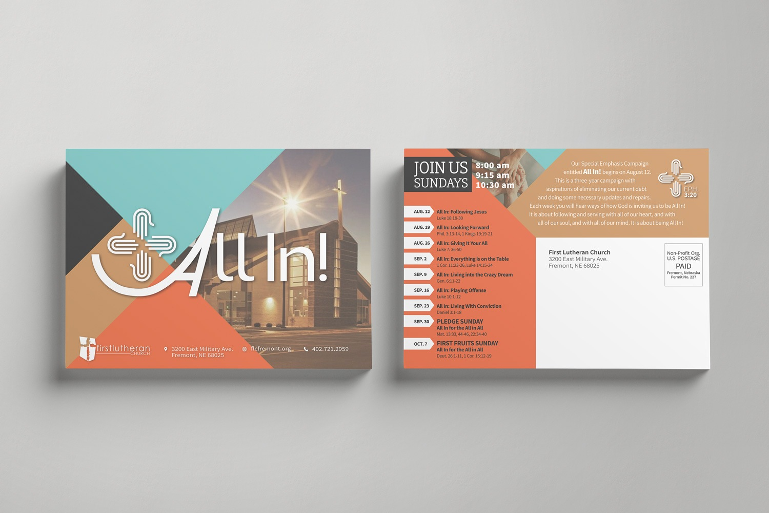 Direct mail postcards for church capital campaign themes design ideas