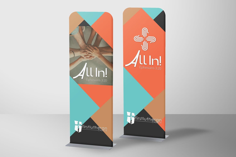 Sleeve Banners for church stewardship materials, capital campaign ideas