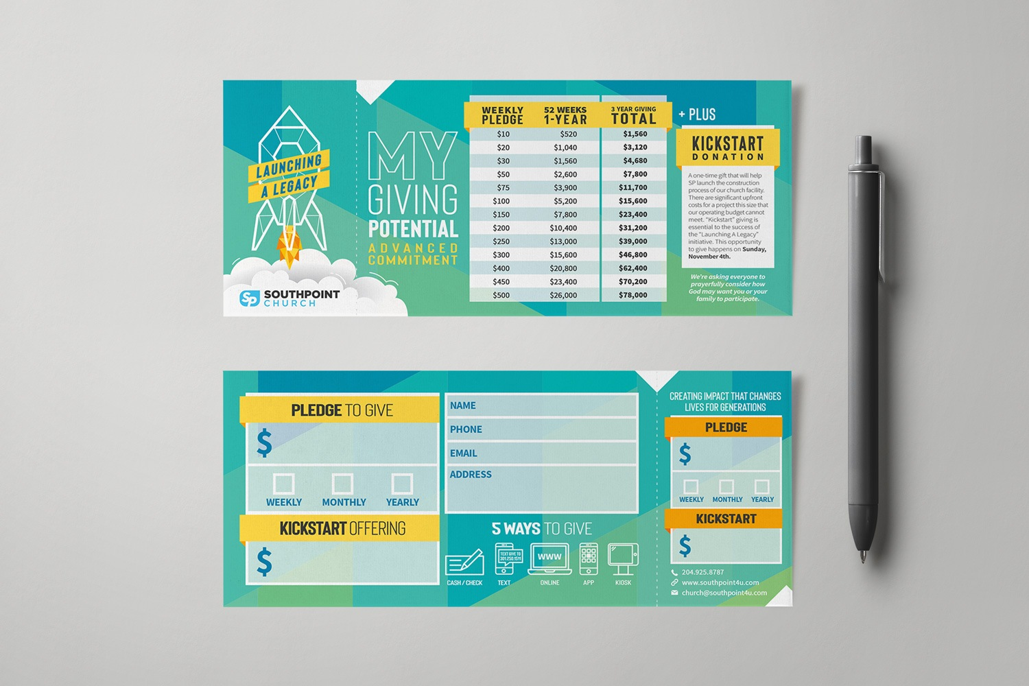Capital Campaign Pledge Cards Commitment Card Design for Church Examples, Ideas