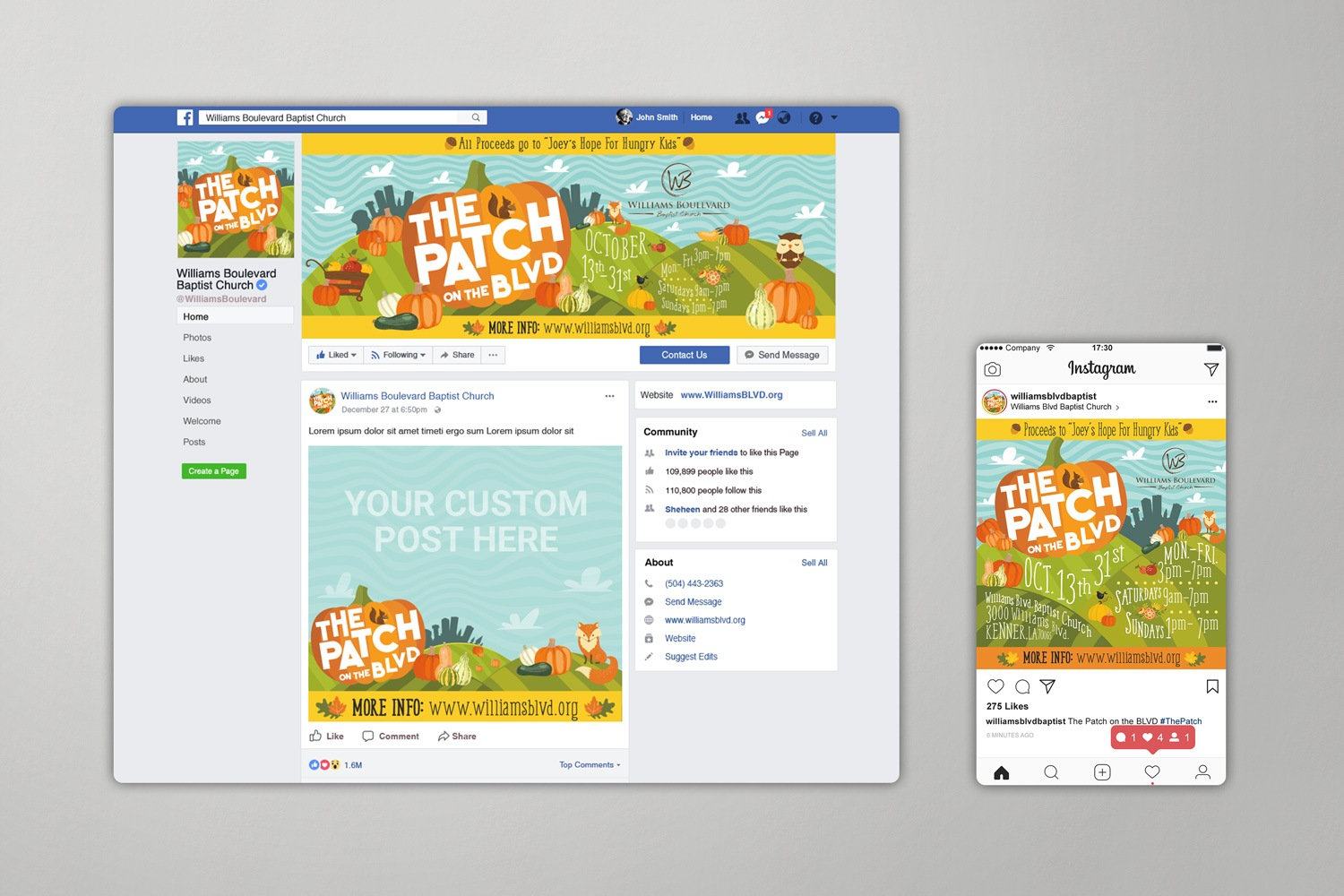 church social media graphics and design for outreach communications
