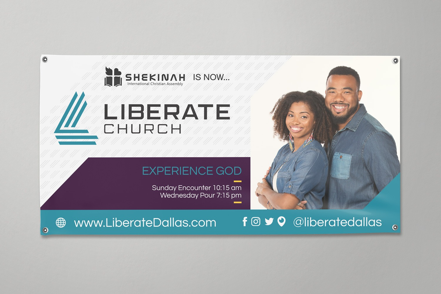 Rebrand banner of church logo and branding ideas