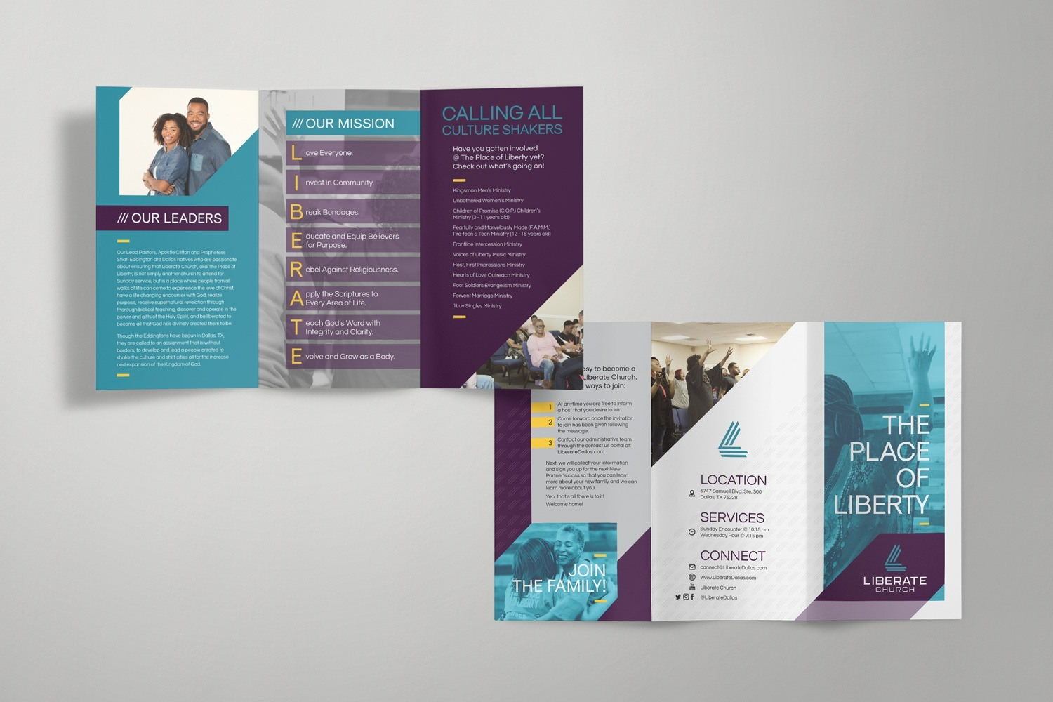 Church Brochure design & logo samples for branding strategy
