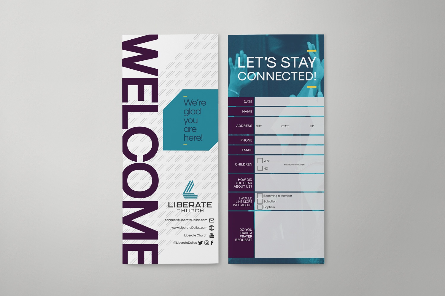 Church connection card design samples, ideas for church branding