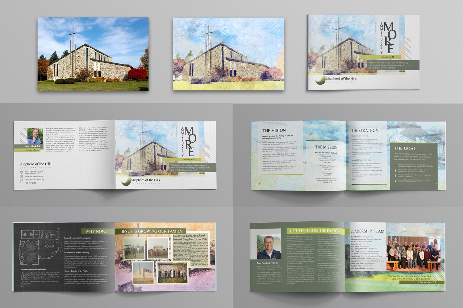 Church capital stewardship campaign brochure case statement multipage booklet design