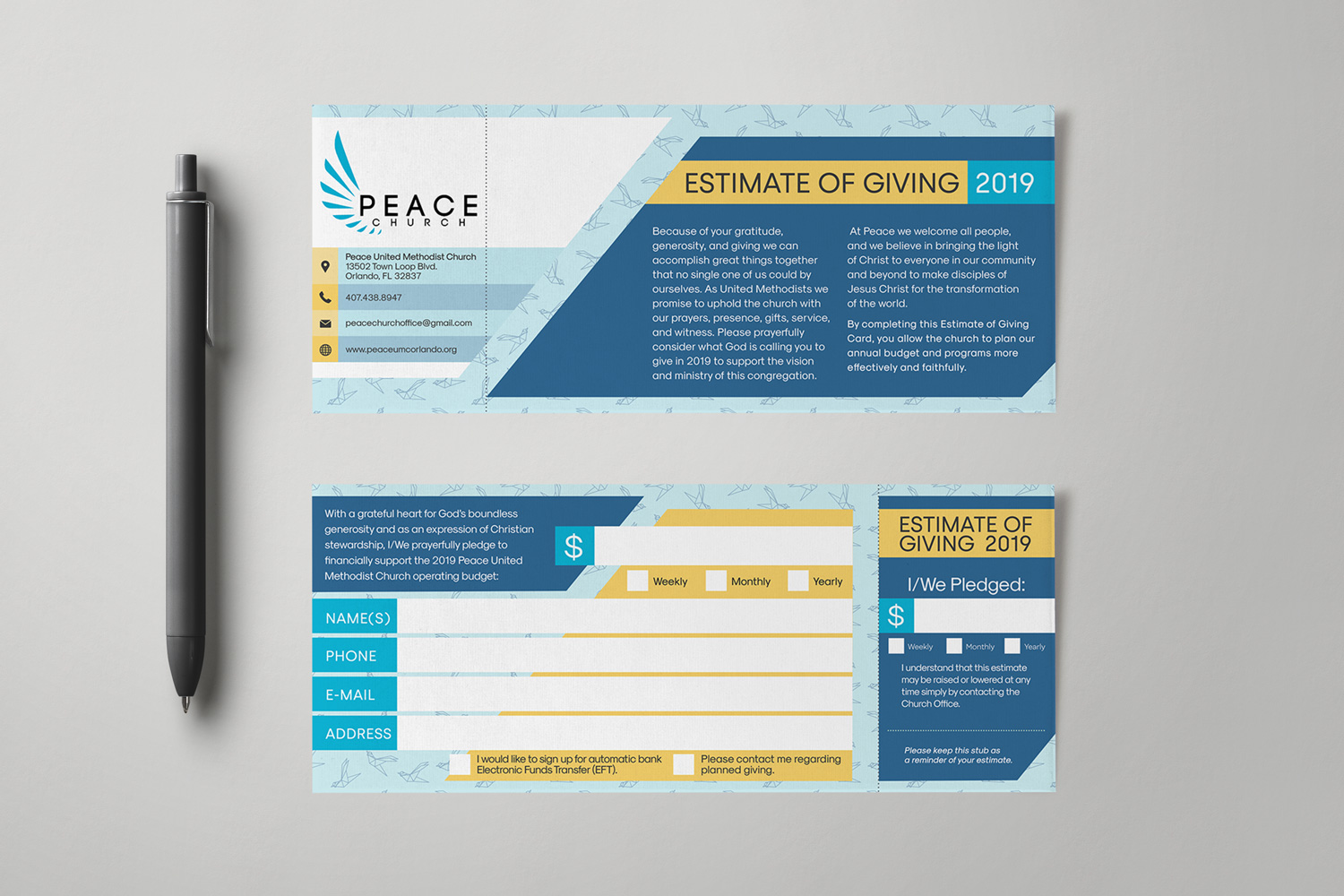 Stewardship Campaign Pledge Cards & Commitment Cards Design Examples & Ideas
