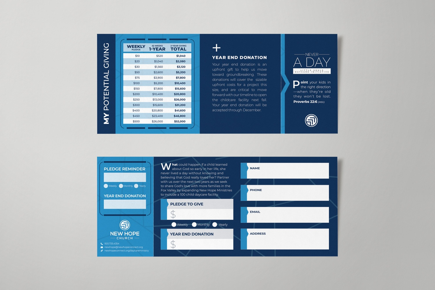 Modern Pledge Card Design and Printing Examples Ideas, Templates