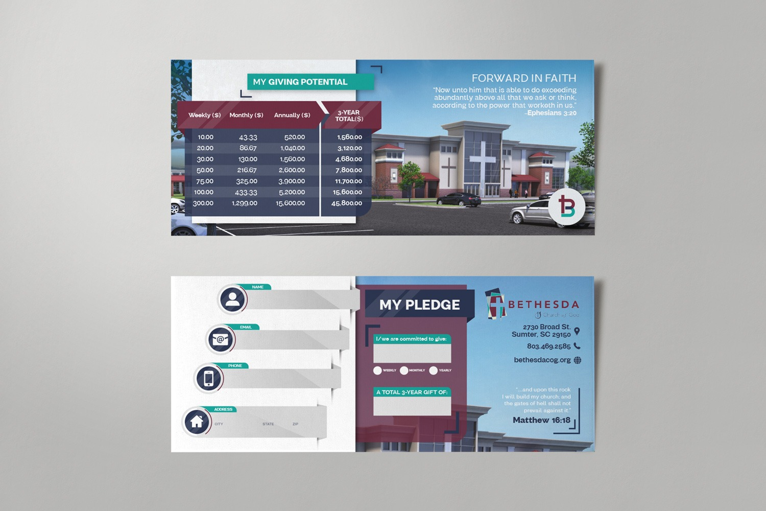 Commitment Card Design Modern Custom Template for Church Capital Campaigns