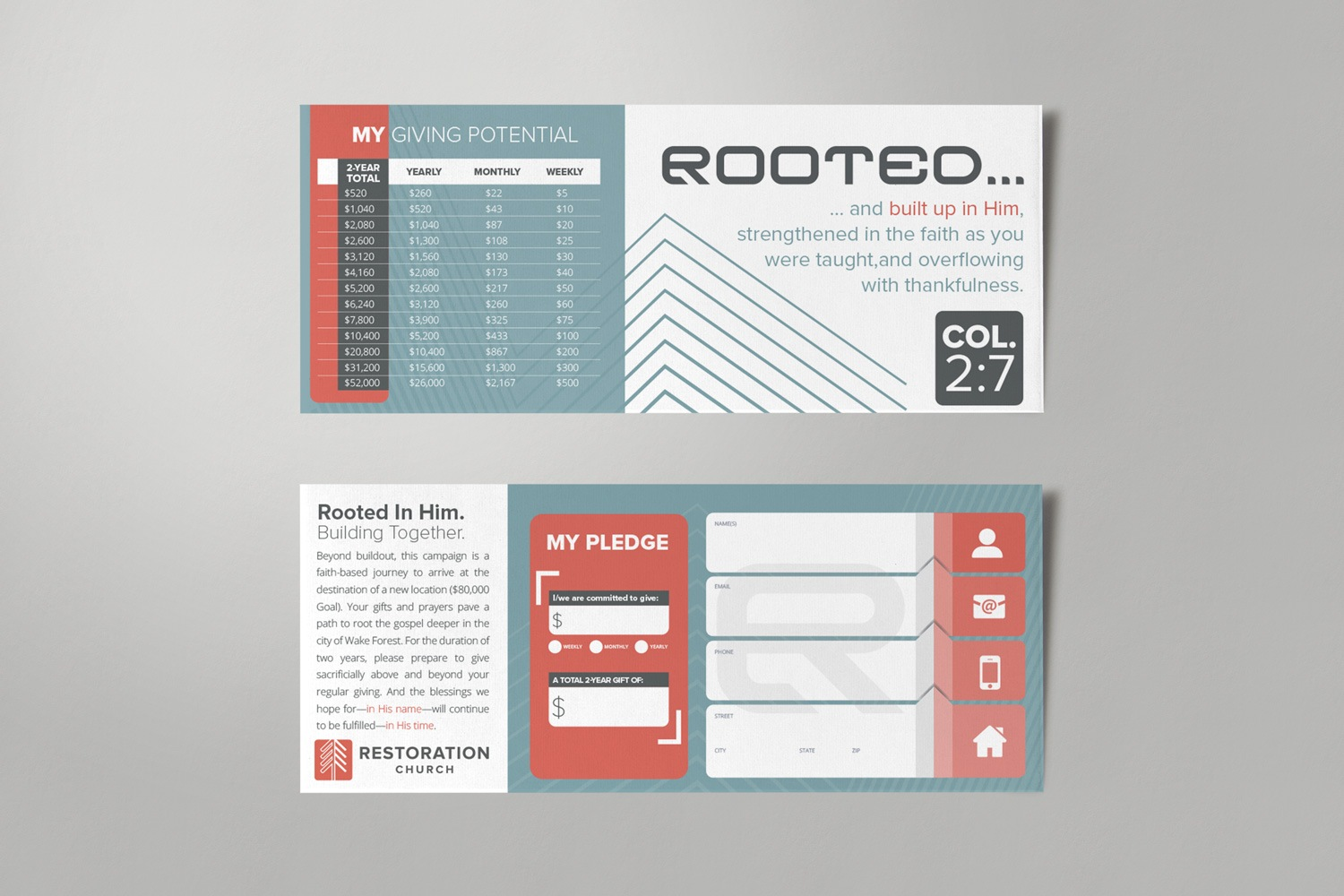 Commitment Card For Non-Denominational Church Capital Campaign Materials