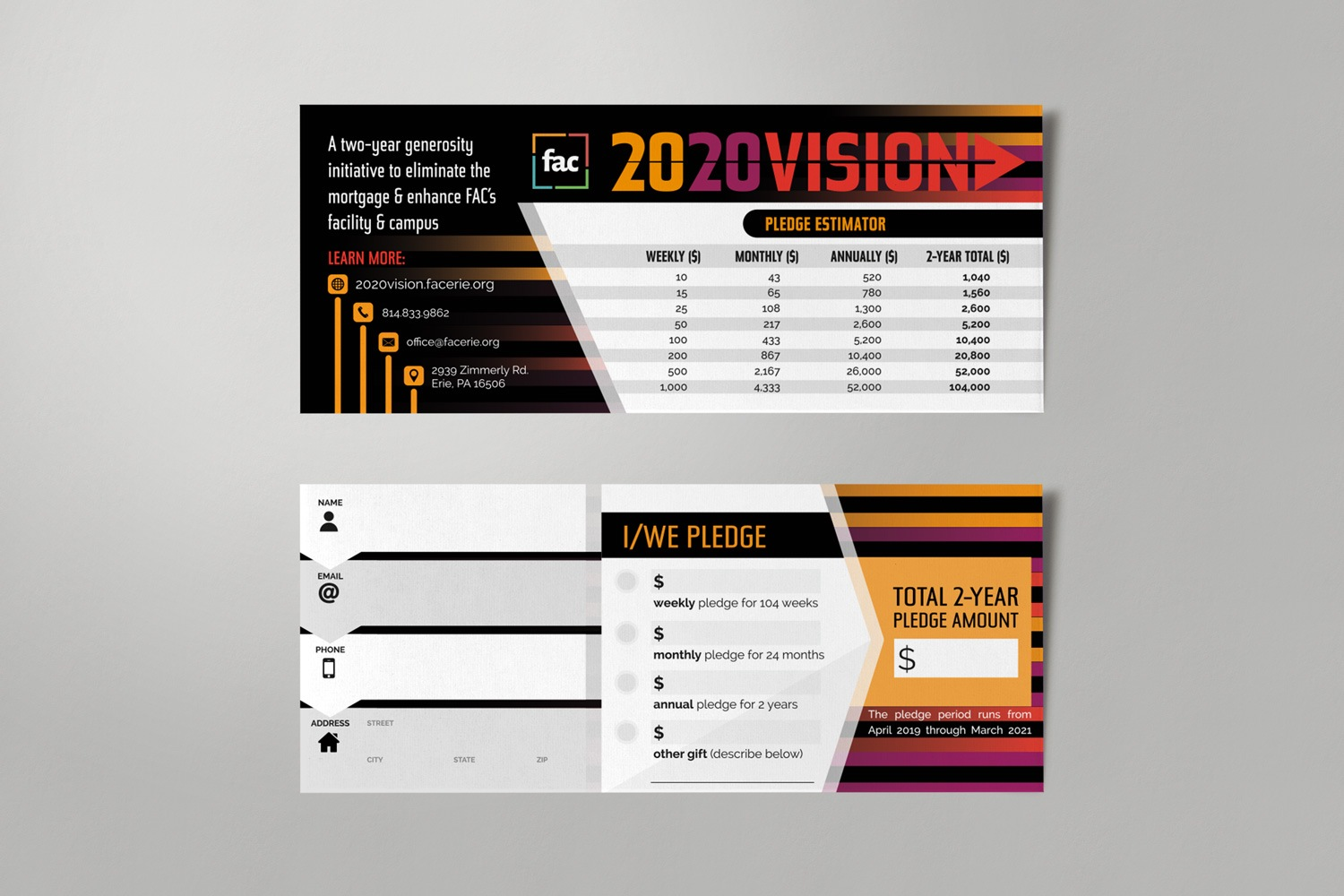 Pledge Card 2020 Vision Capital Campaign Theme for Church Stewardship
