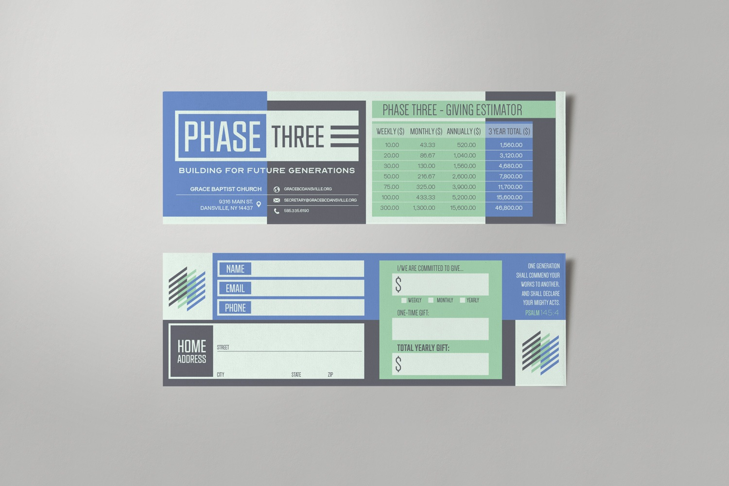 Church capital campaign theme pledge card design stewardship materials by Abstract Union