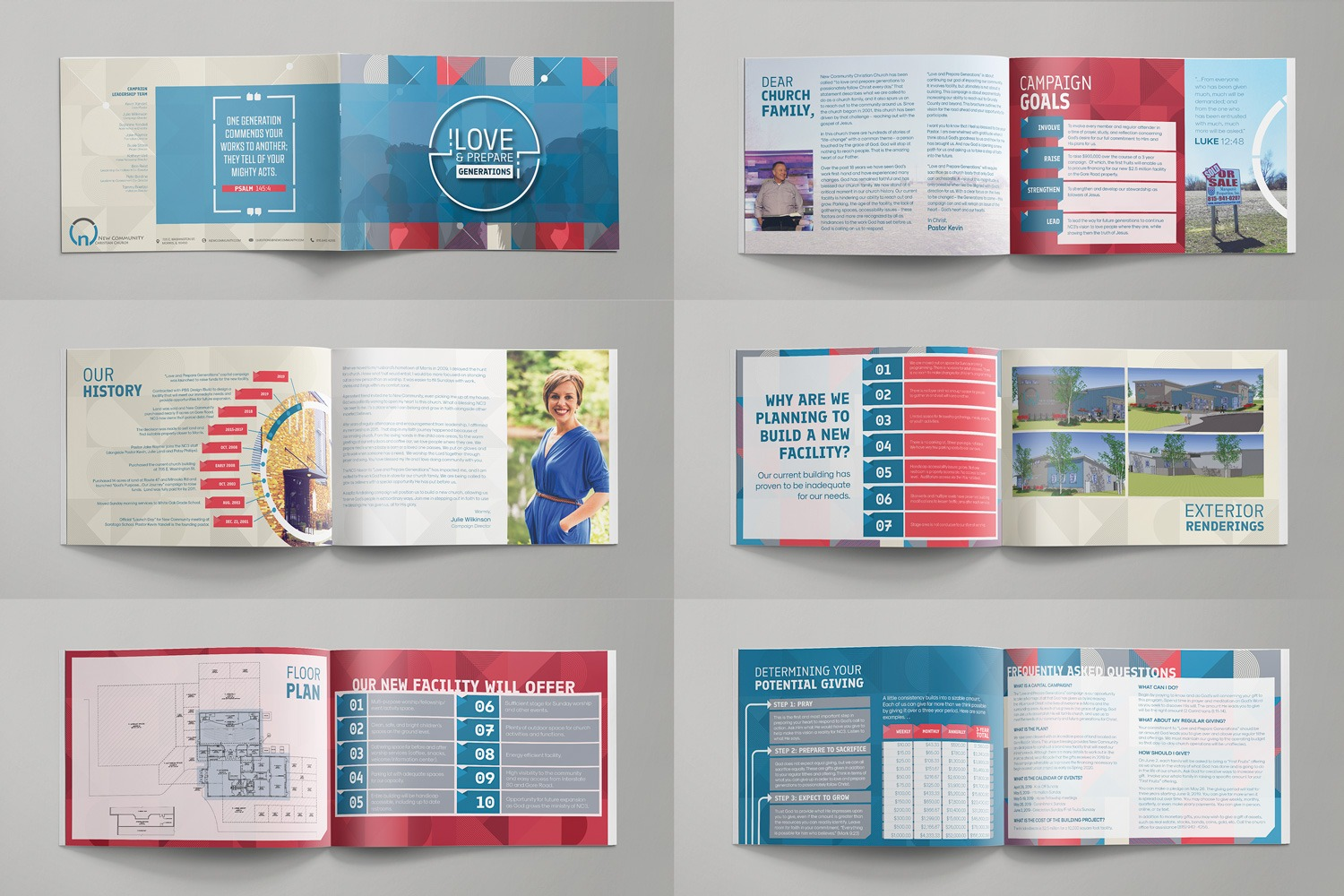 Multipage Brochure Design for Capital Campaign Case statement Stewardship Materials