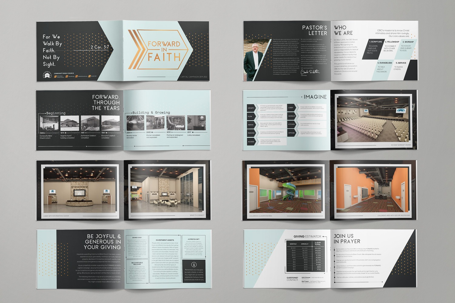 Booklets & Brochure Design for Church Capital Campaign Stewardship  Themes