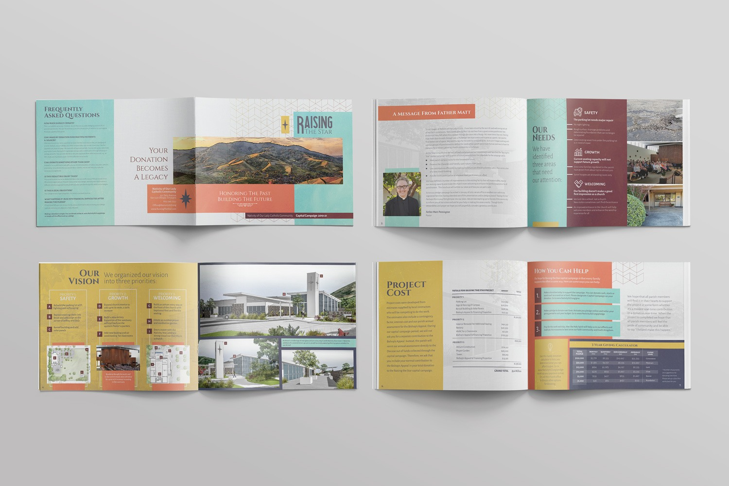 Catholic Church capital campaign brochures and booklet for Catholic Church case statement