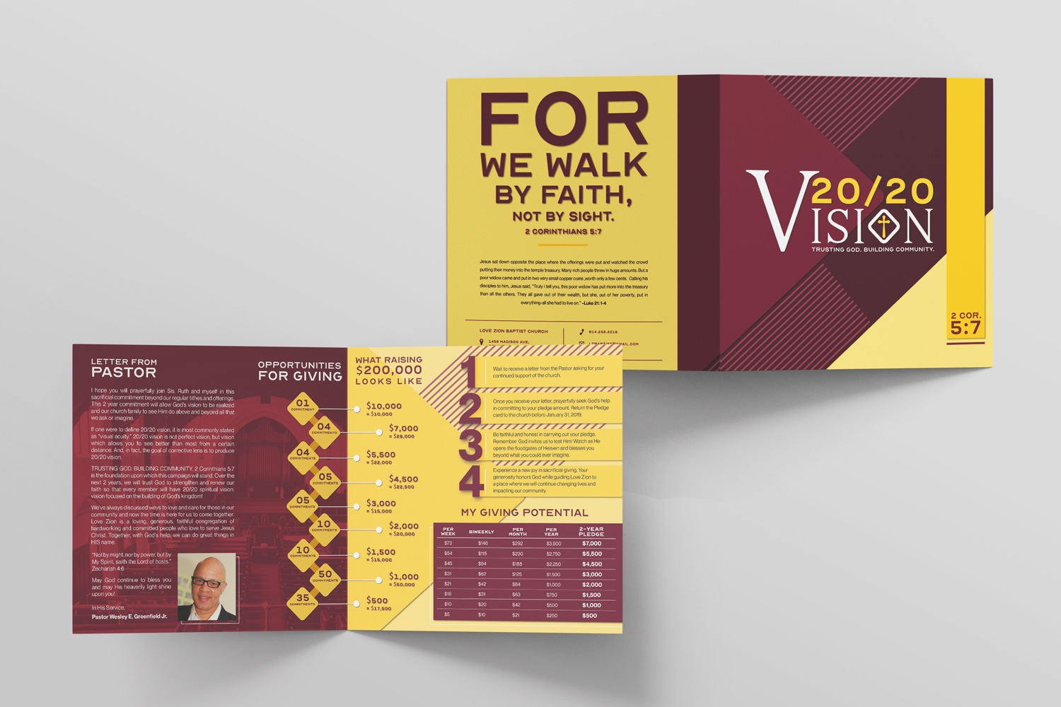 church capital campaign brochure materials for Black, african american church by abstract union