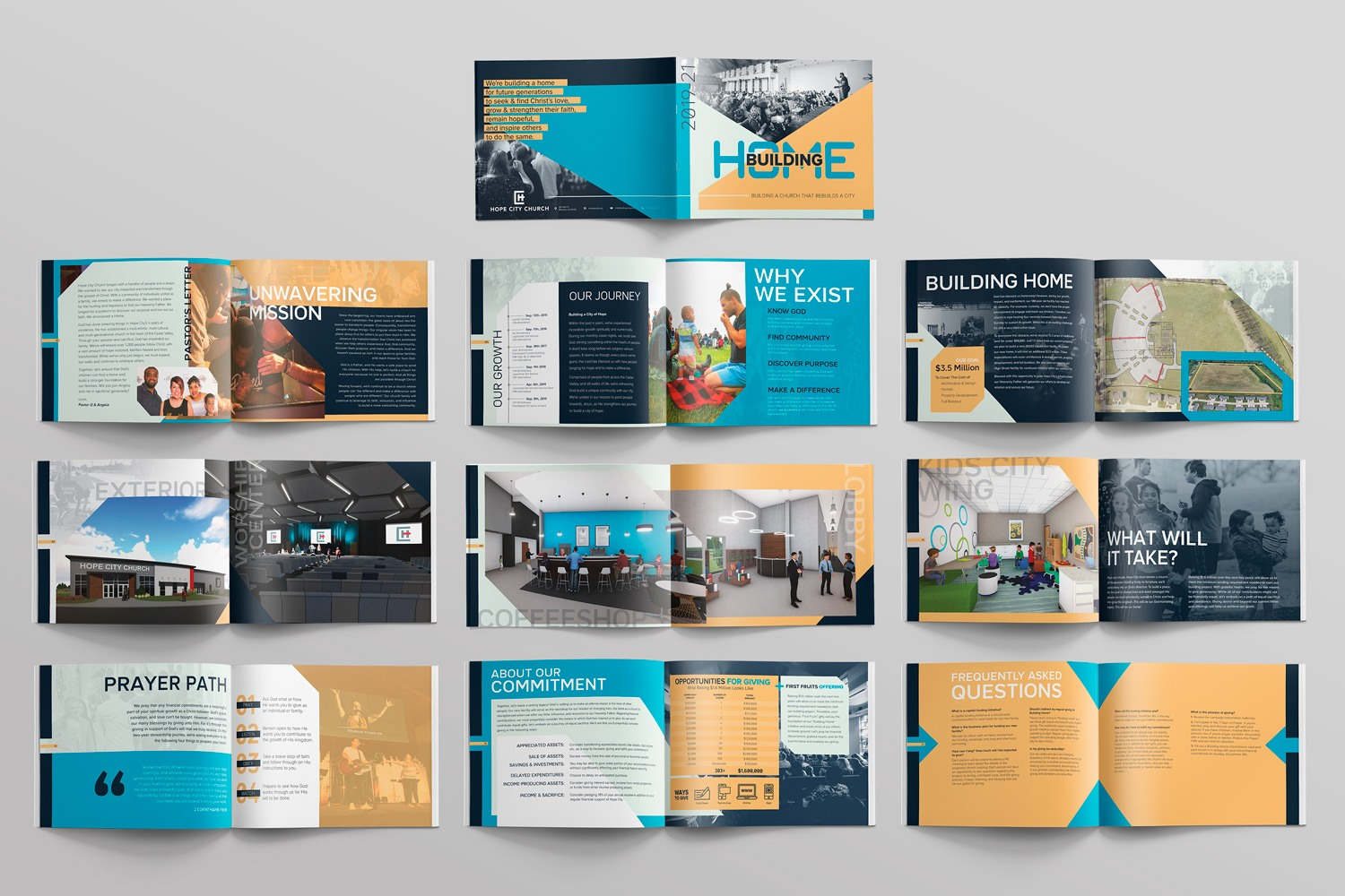 nondenominational church capital campaign brochure booklet themes design materials by abstract union