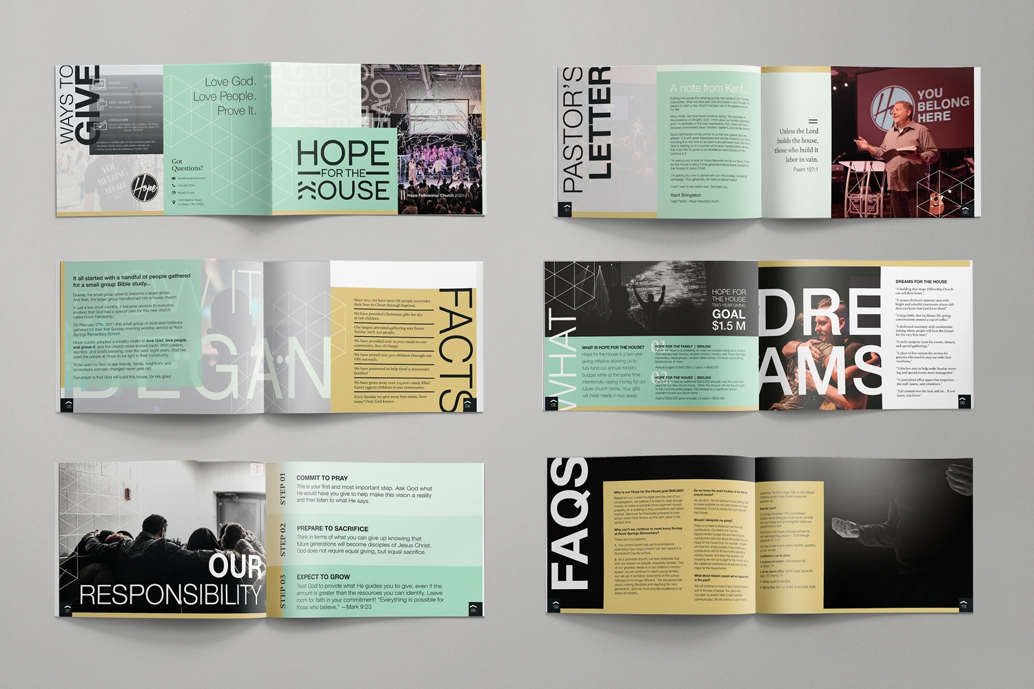 Non-denominational church capital stewardship case statement brochure, capital campaign consulting for church campaigns by Abstract Union