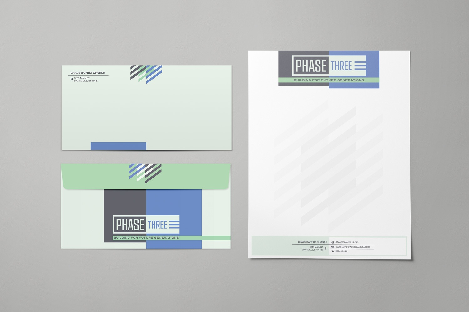 Church capital campaign letterhead and envelope examples for baptist church themes, campaign materials y Abstract Union