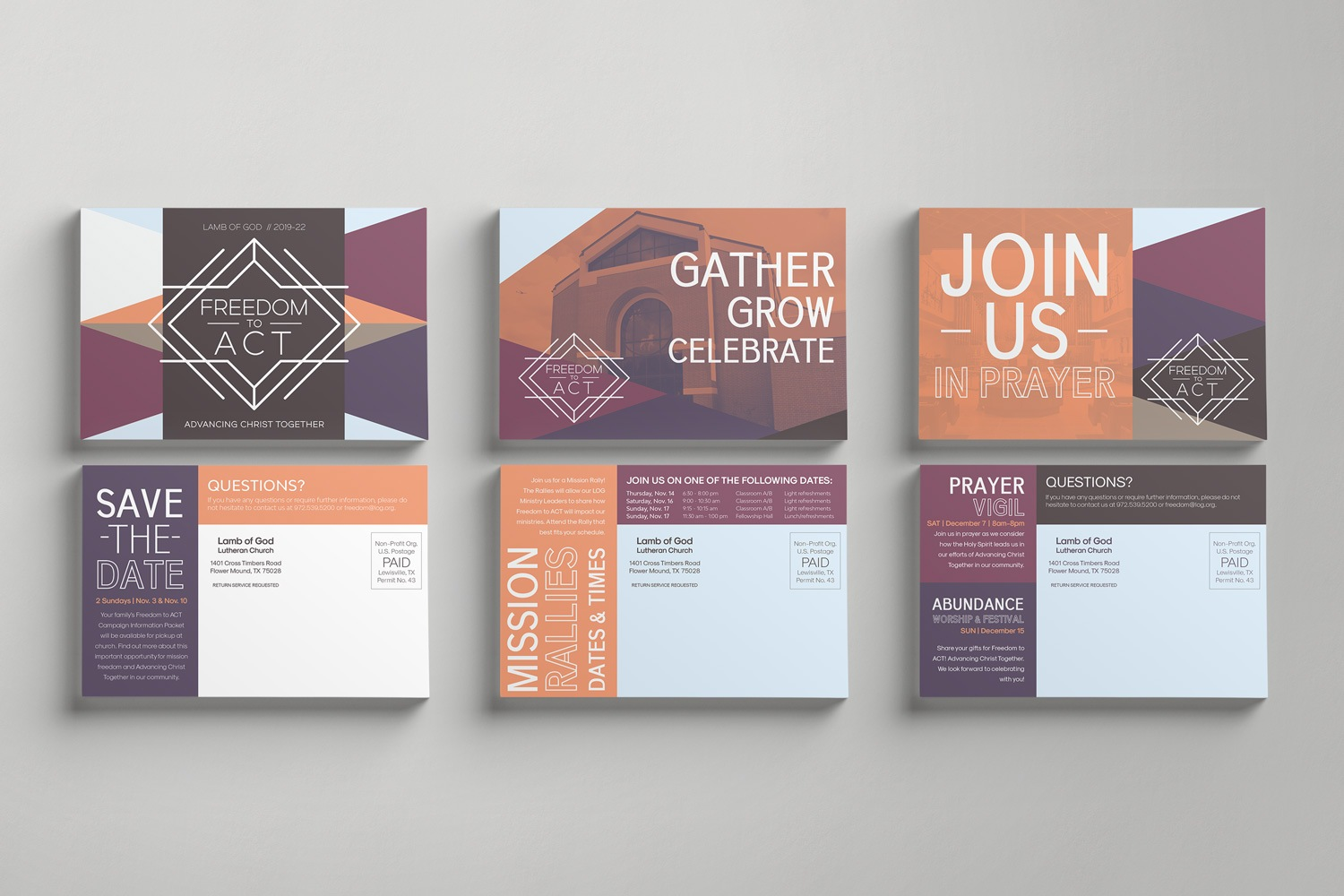 Invitations for Invite cards for church fundraising and capital campaign launch events, 4 x 6in postcards by Abstract Union