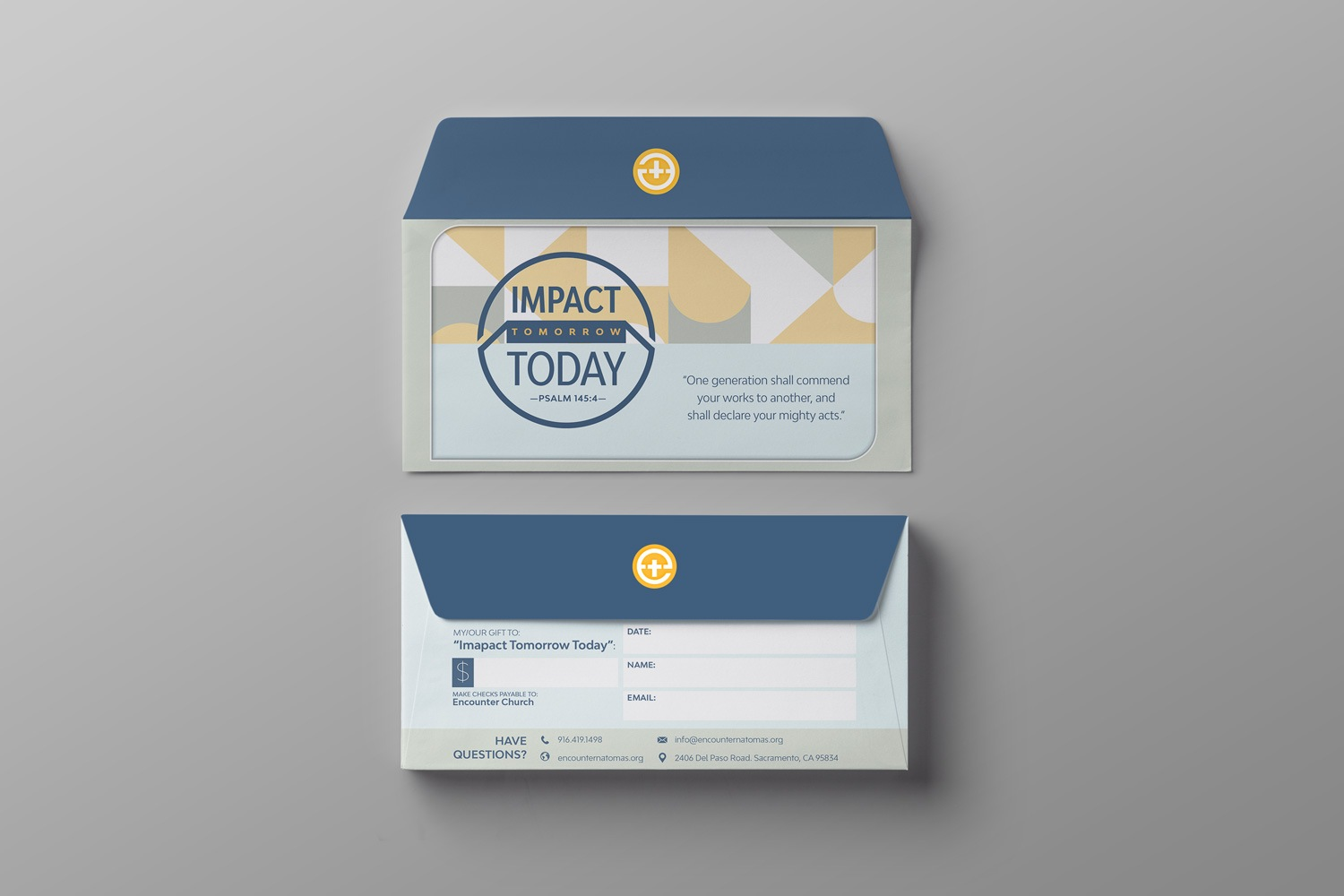 Short Flap Remittance Offering Envelops for Church Capital Fundraising by Abstract Union in Lincoln, NE