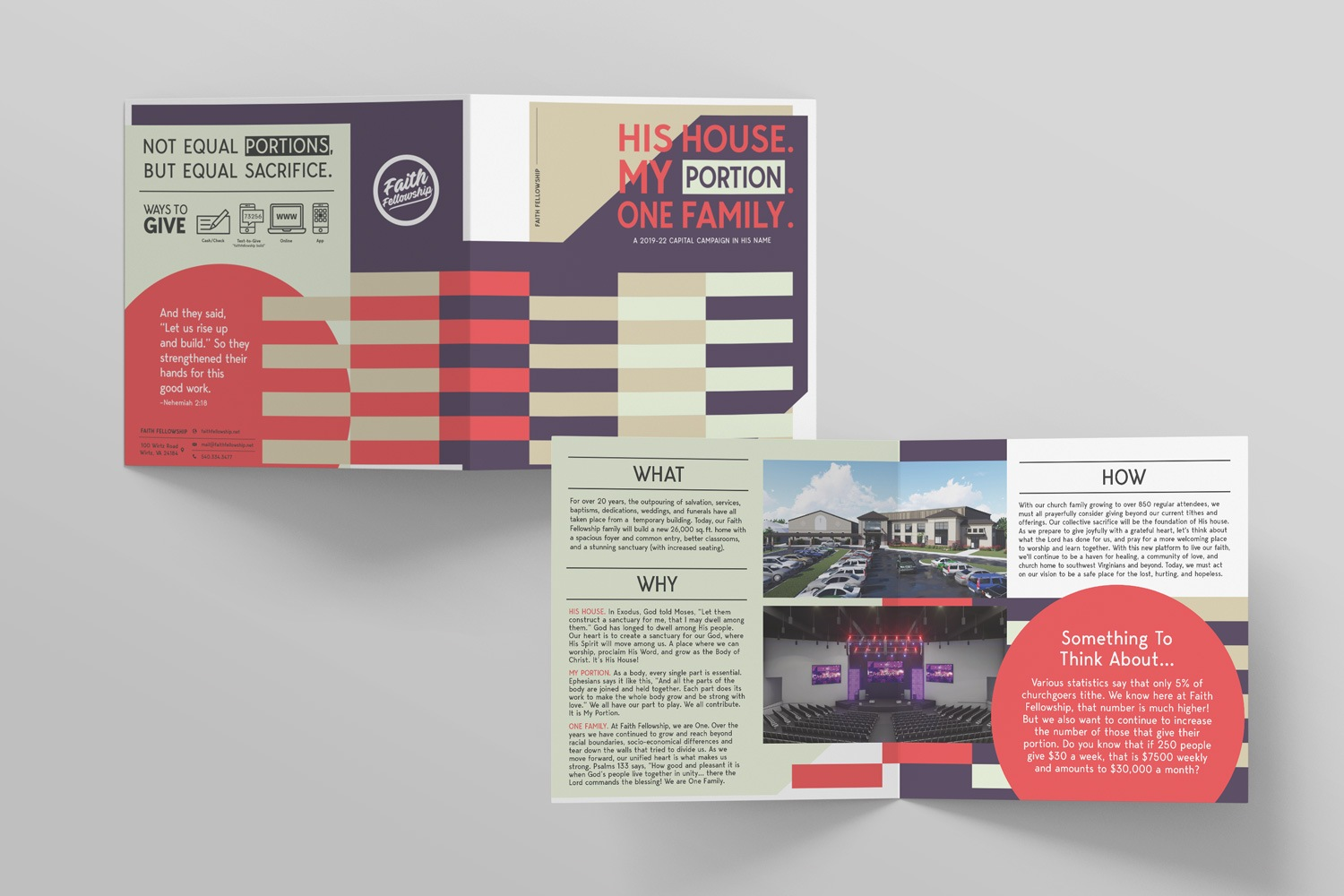 Case statement half-fold brochure for Church Capital Campaigns by Abstract Union in Lincoln, NE