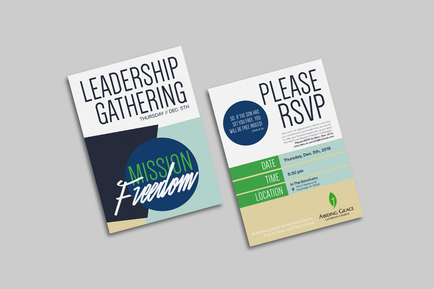 Large 5 x 7 in. Vertical invitations for Church Capital Campaigns by Abstract Union in Lincoln, NE