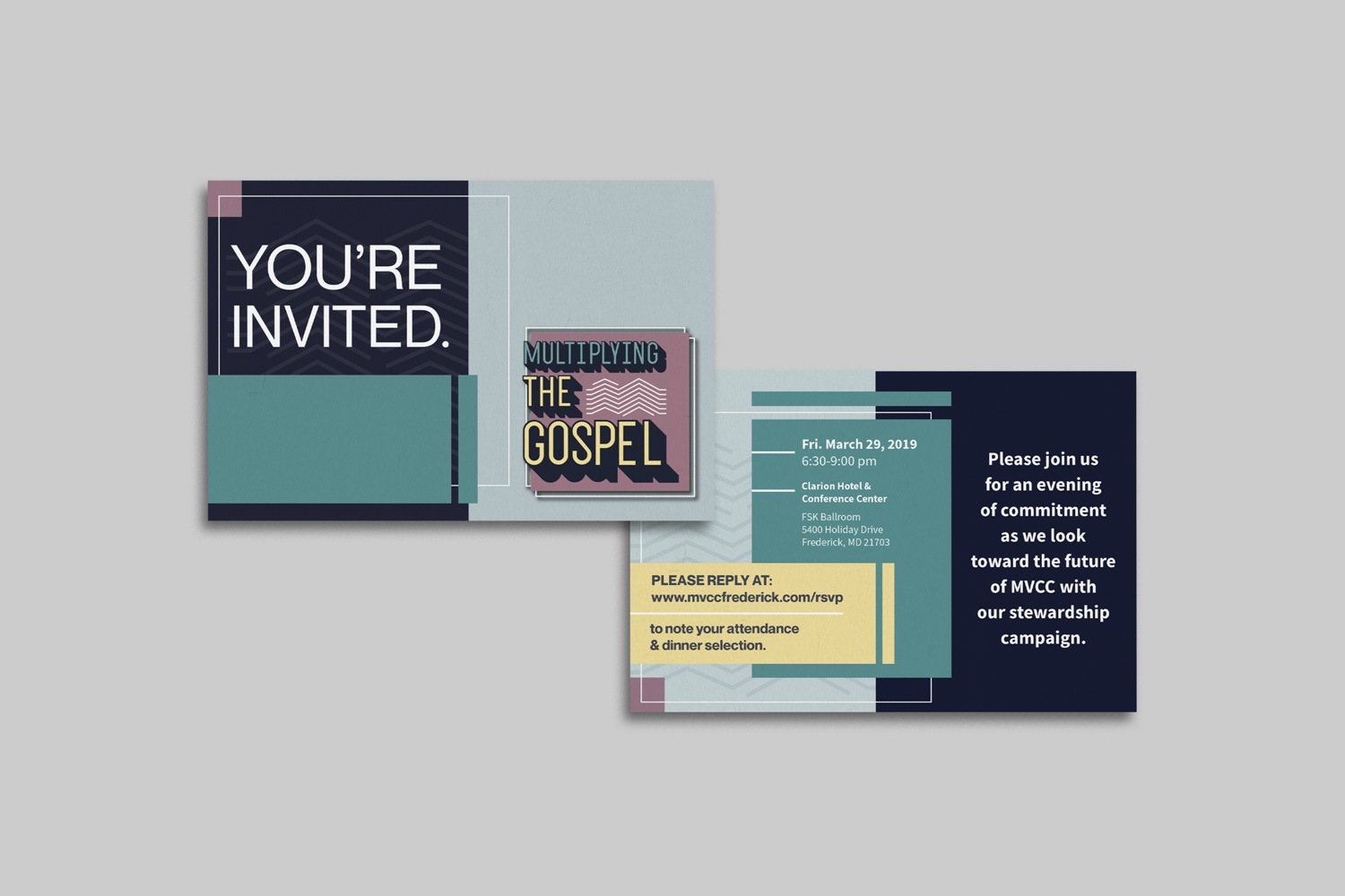 Church capital campaign 4 x 6 in. postcard invitations by Abstract Union in Lincoln, NE