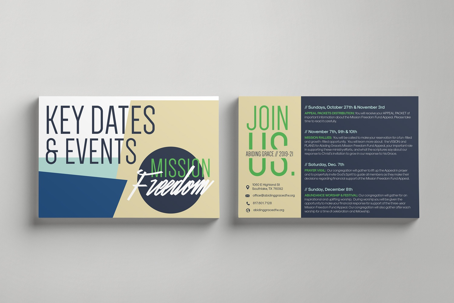 Informational Postcards for church capital fundraisers ideas and examples by Abstract Union in Lincoln, NE