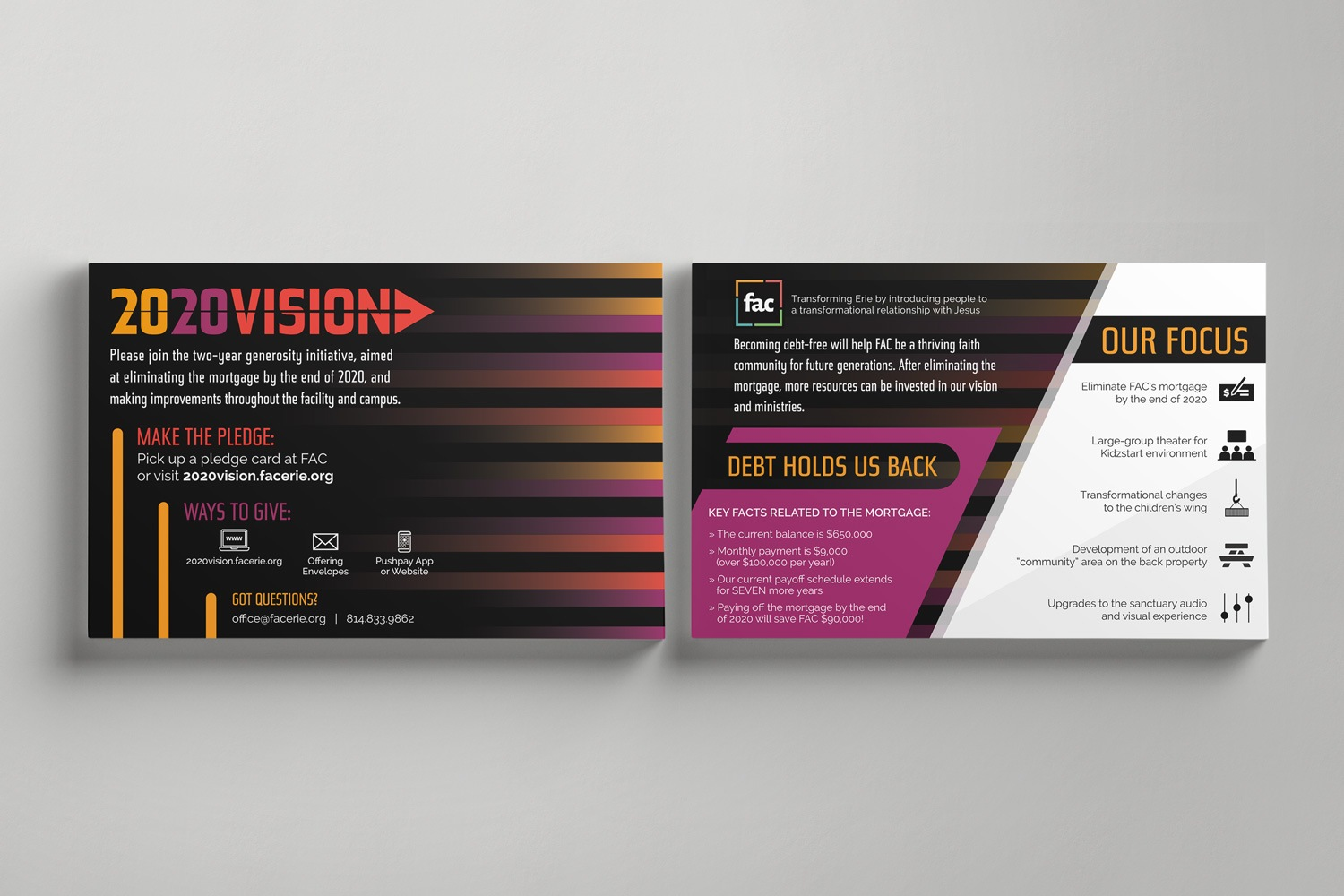Church Capital campaign custom informational postcards ideas and examples by Abstract Union in Lincoln, NE