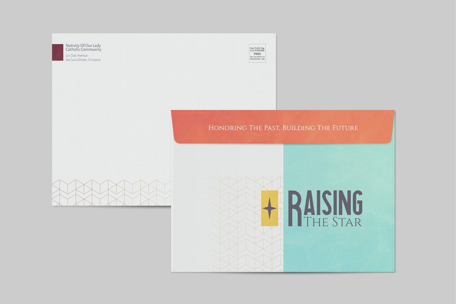 Envelopes for church fundraising campaign materials, 9 x 12 in. large envelope samples