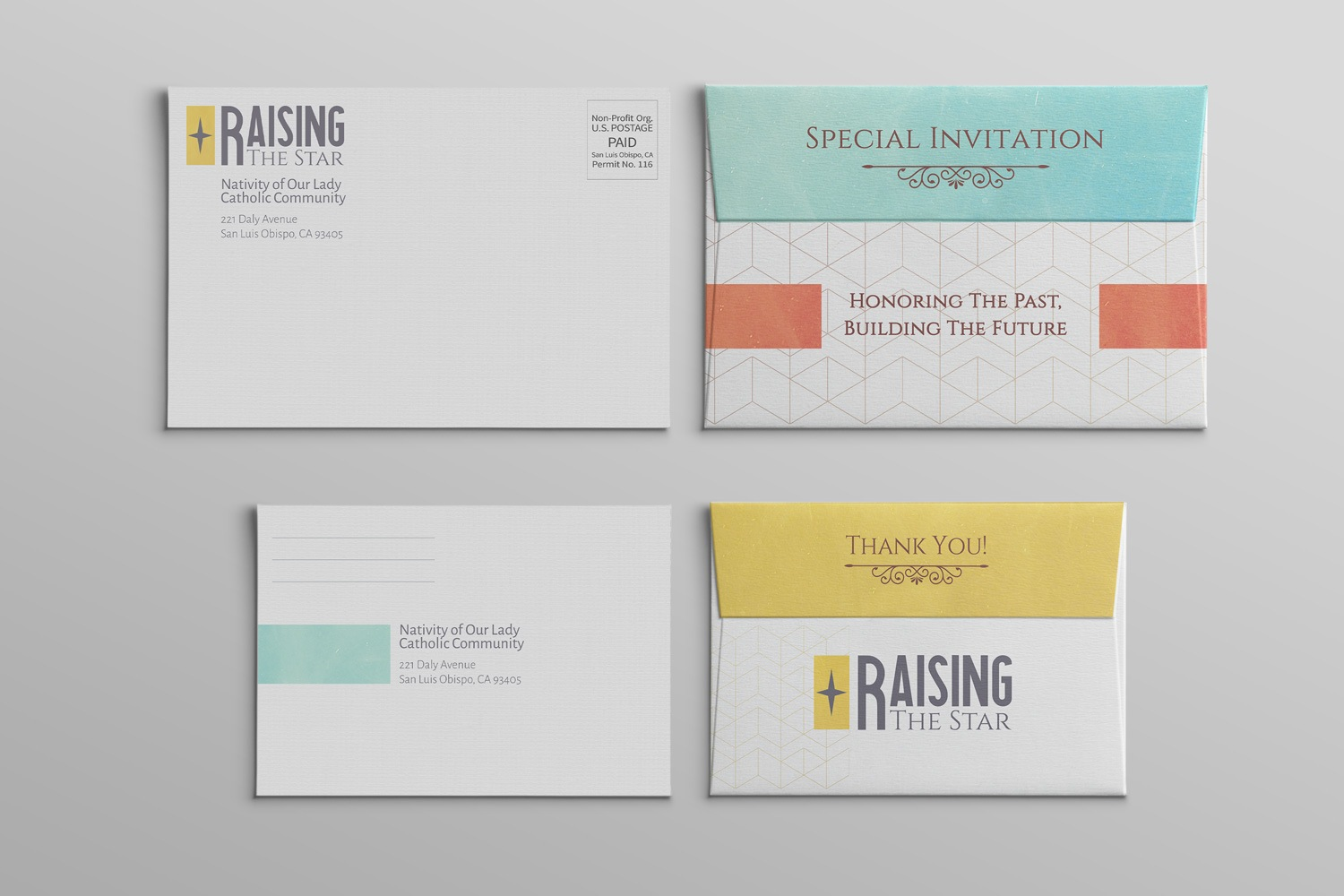 Church capital campaign envelopes, A1 and A4 samples, invitation examples