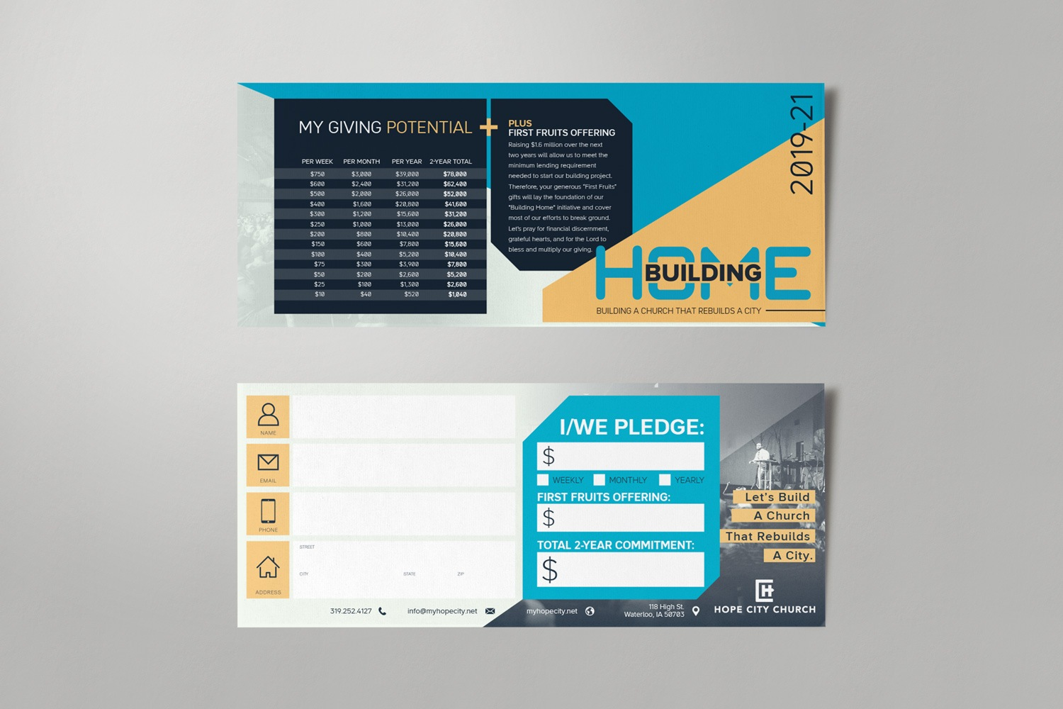 Commitment, pledge cards for church fundraising and capital campaign materials, ideas and samples by Abstract Union