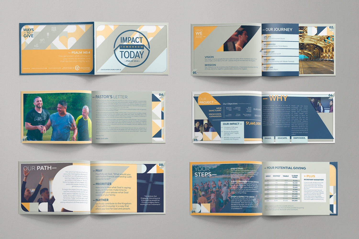Multi-page brochure case statement for church capital fundraising. 12-page booklet by Abstract Union