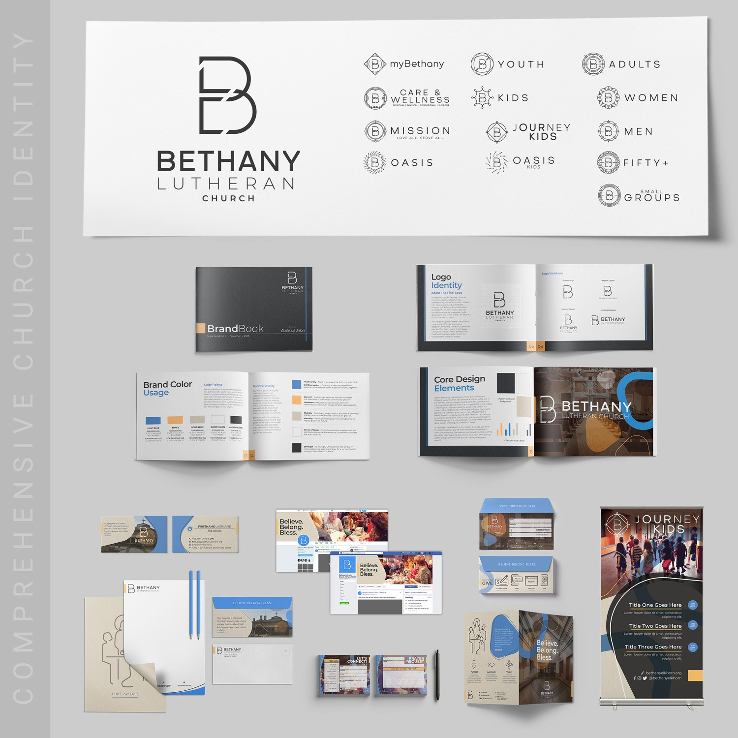 Church Logo brand design examples with sub ministry brand mark for Lutheran church branding by Abstract Union