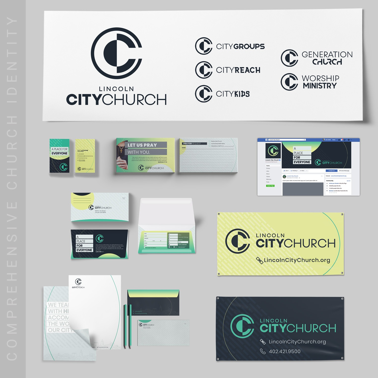 Non-denominational church logo brand design examples with connection cards, banners, envelopes for church branding b Abstract Union