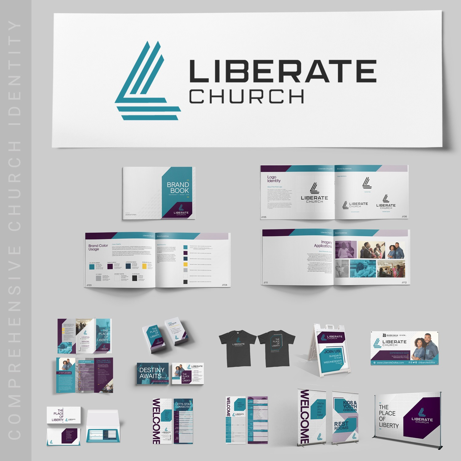 Modern church logo examples for non-denominational church brand identity guidelines by Abstract Union