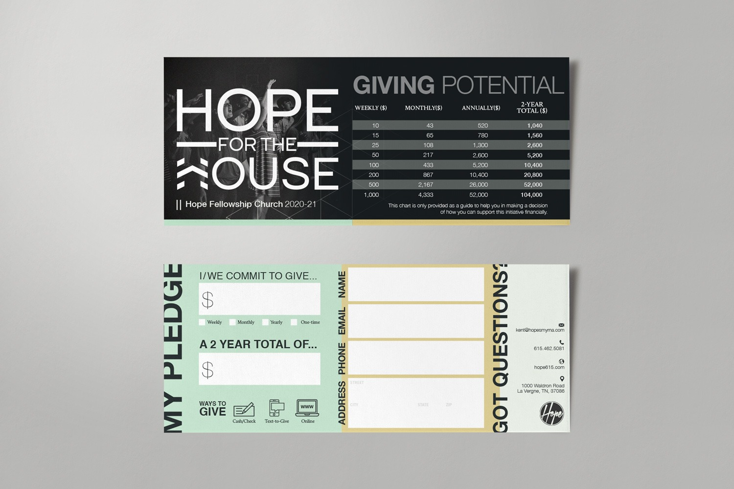 Contemporary church design for church capital campaign pledge cards by Abstract Union