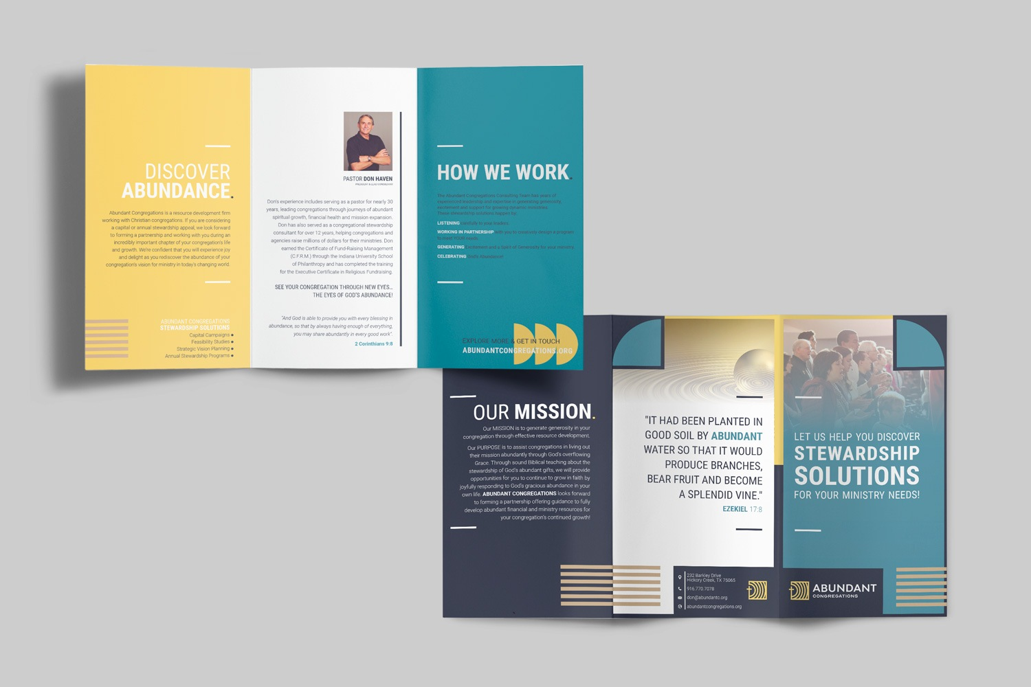 Full-color church marketing brochure for Abundant Congregations by Abstract Union