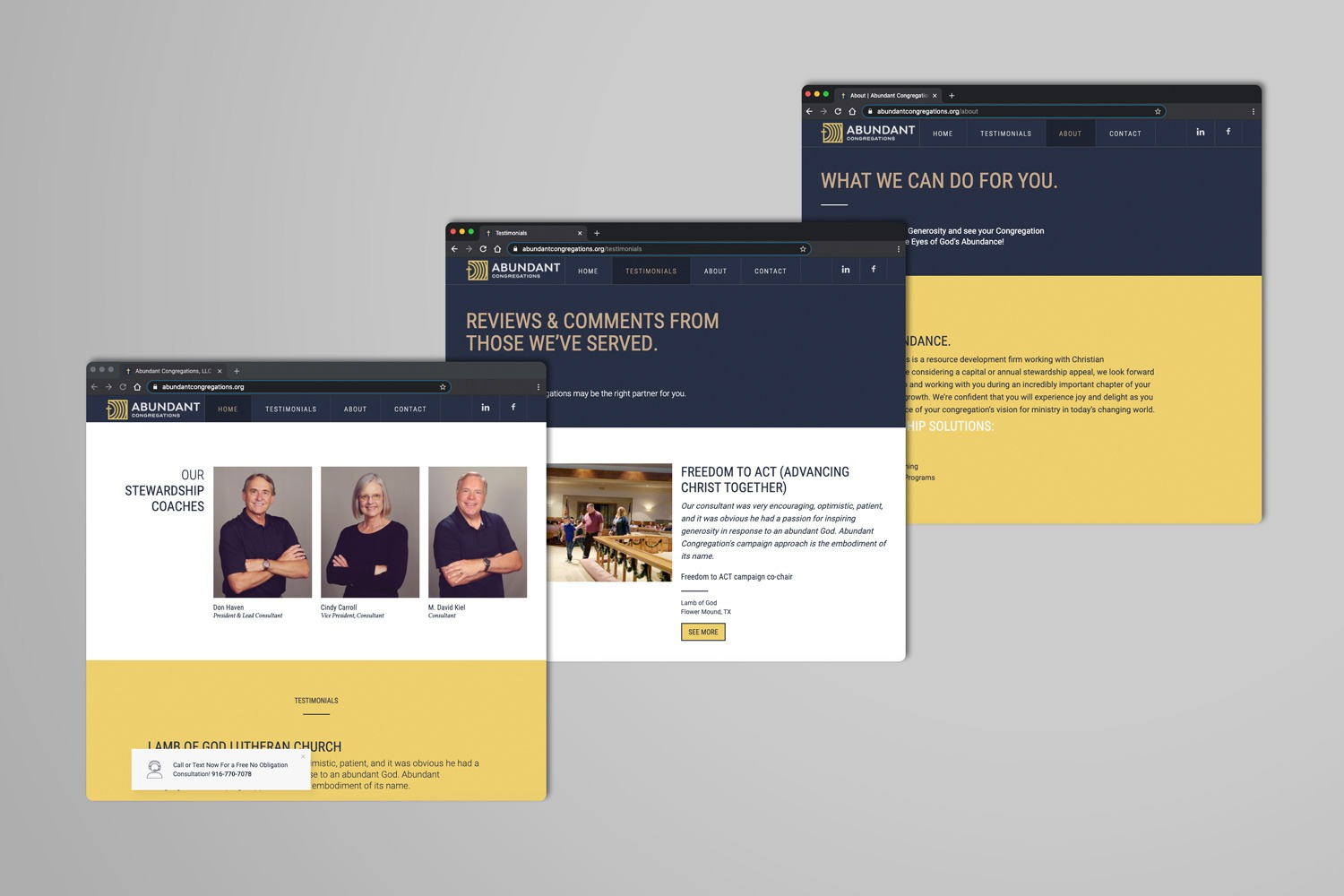 Church Marketing multi-page website ideas and examples by Abstract Union