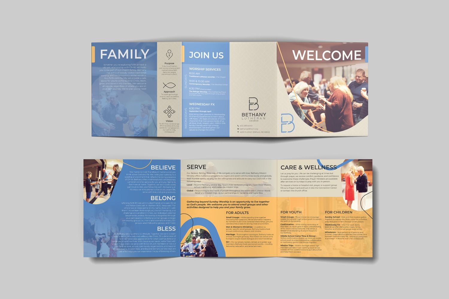 Perfect square Church Guest brochure for Bethany Lutheran Church by Abstract Union