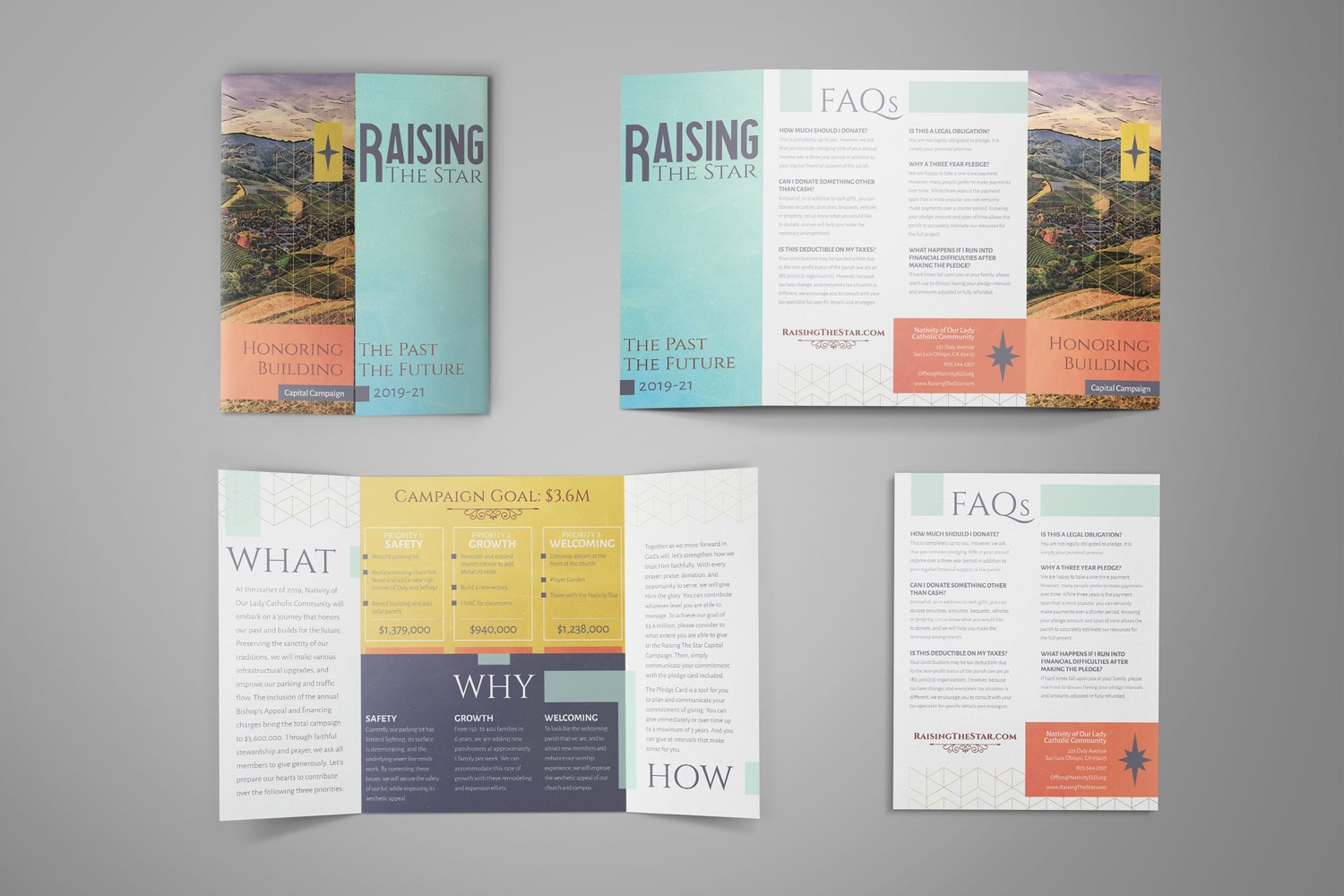 folded church capital campaign brochure for case statement of building campaign