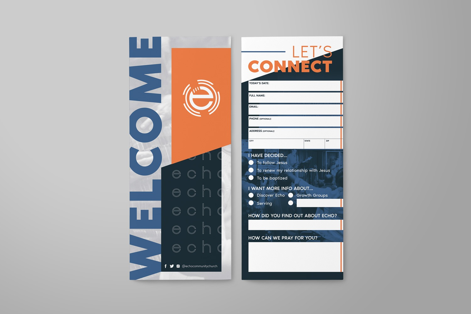 Connection cards for rebranding a church branding examples by Abstract Union
