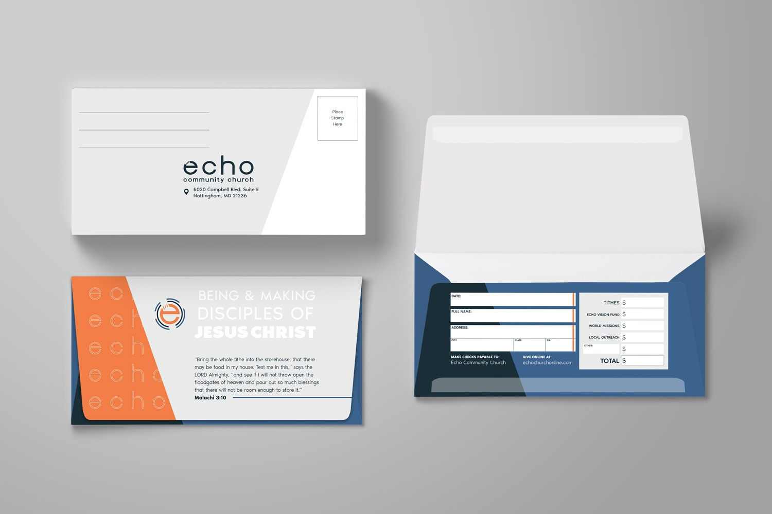 Offering envelope for church brand design ideas, 3.625 x 6.5 in. long flap, Church Branding by Abstract Union