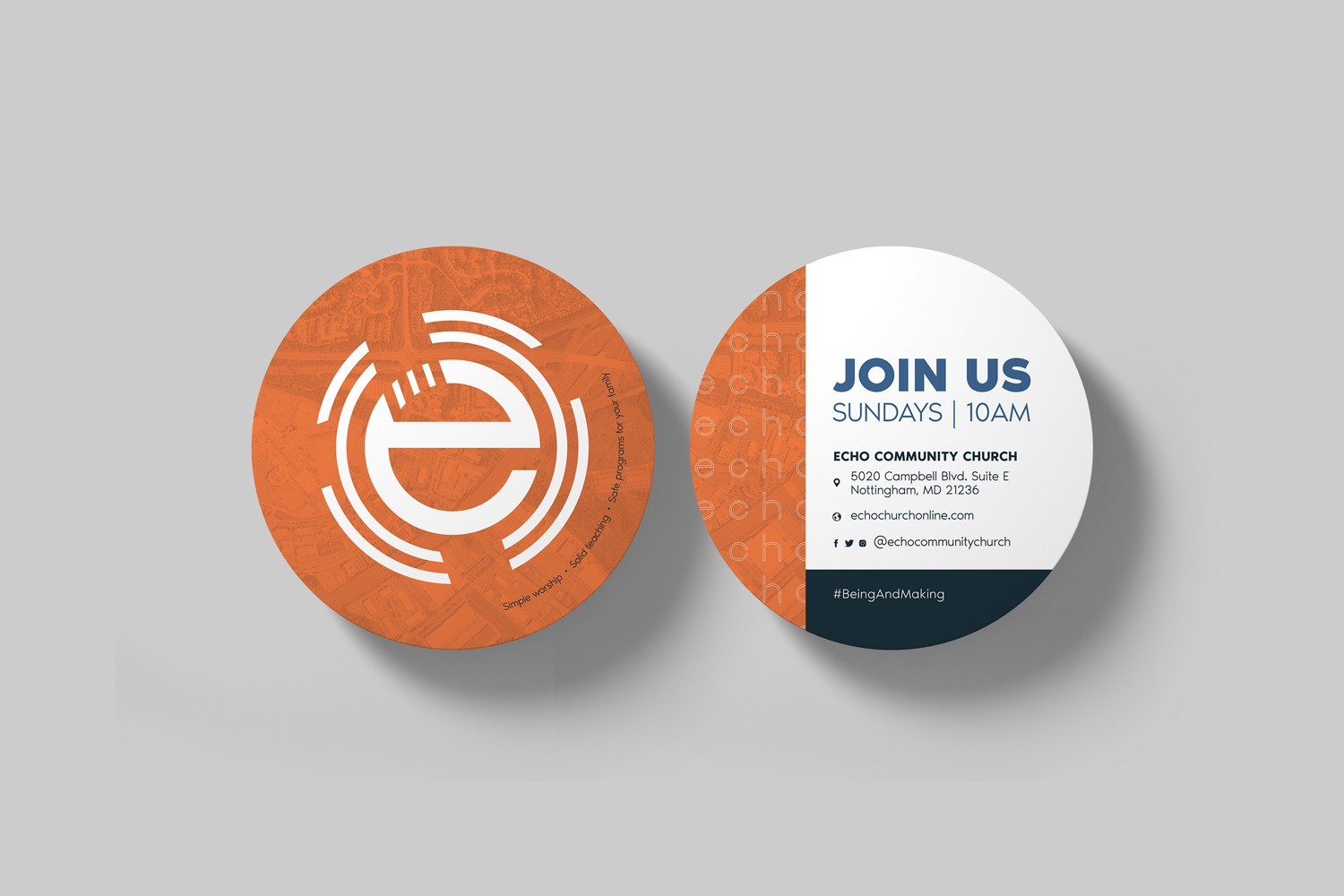 outreach invitations for church marketing materials, 4 in. circle brand design by Abstract Union