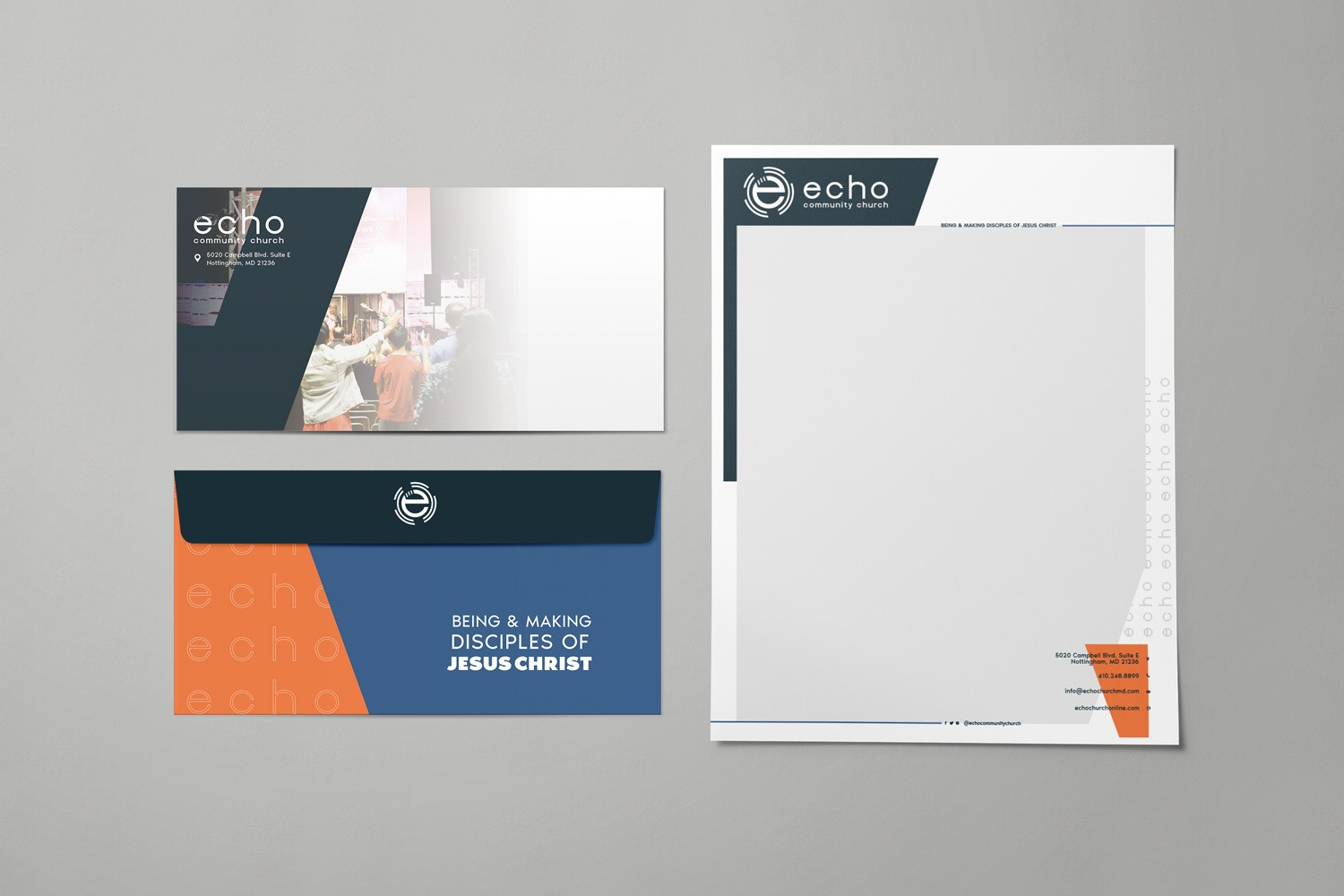 Church branding letterhead and envelope sets for Echo Community Church by Abstract Union
