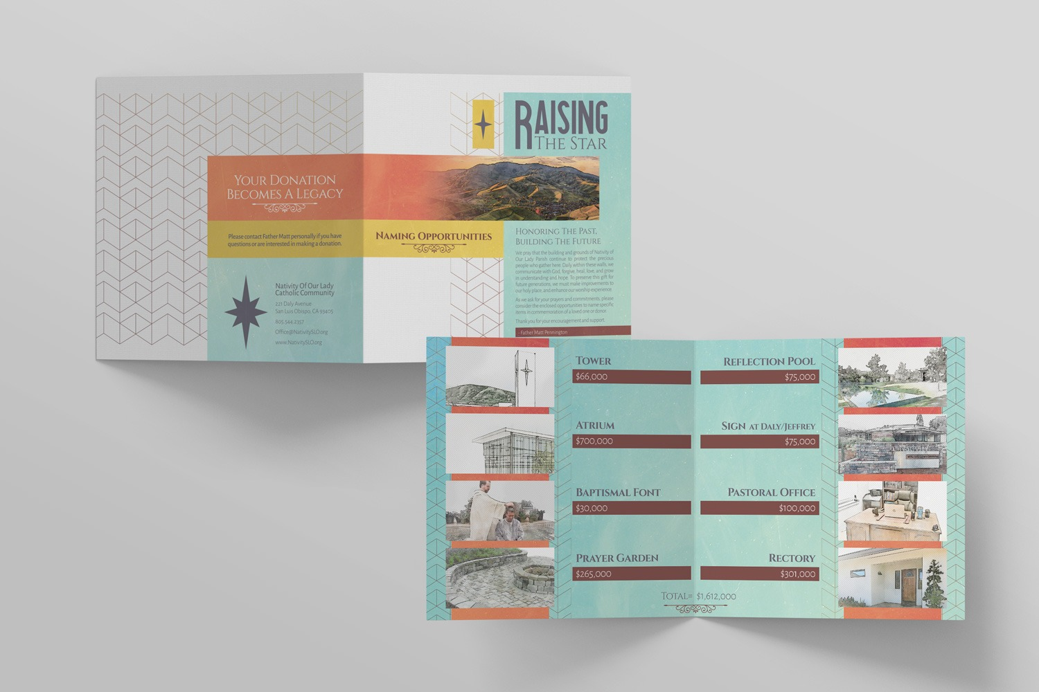 Naming Opportunities Brochure for church building campaign samples, 7 x14in. perfect square