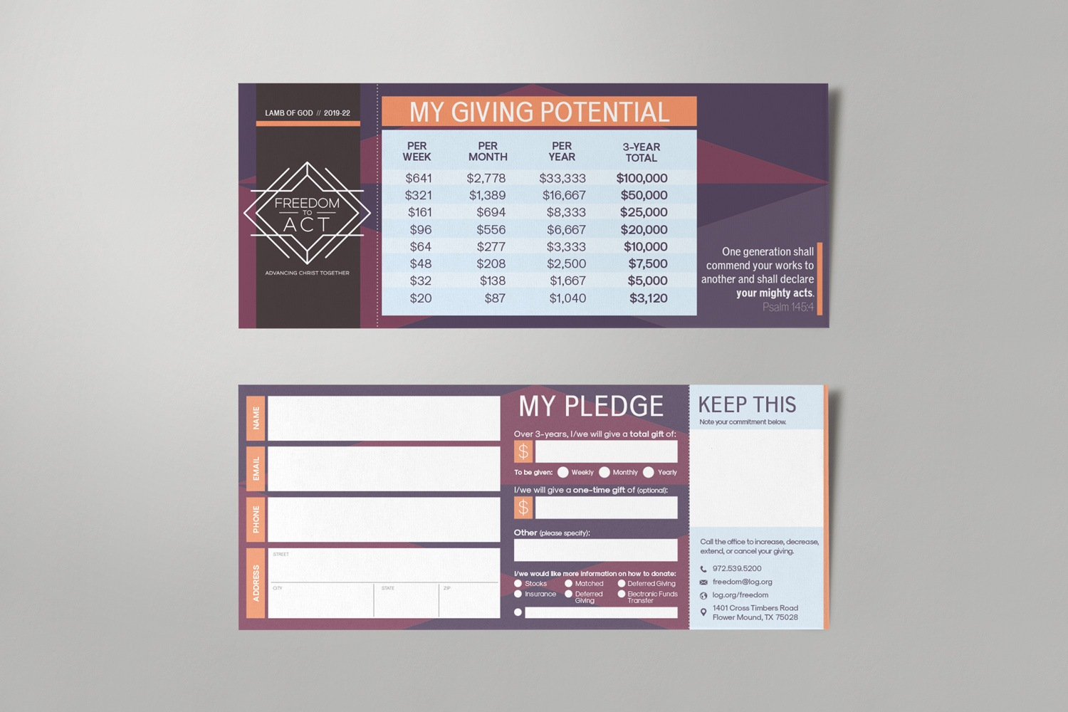 3.5x8.5in pledge card samples for church capital campaign stewardship materials by abstract union