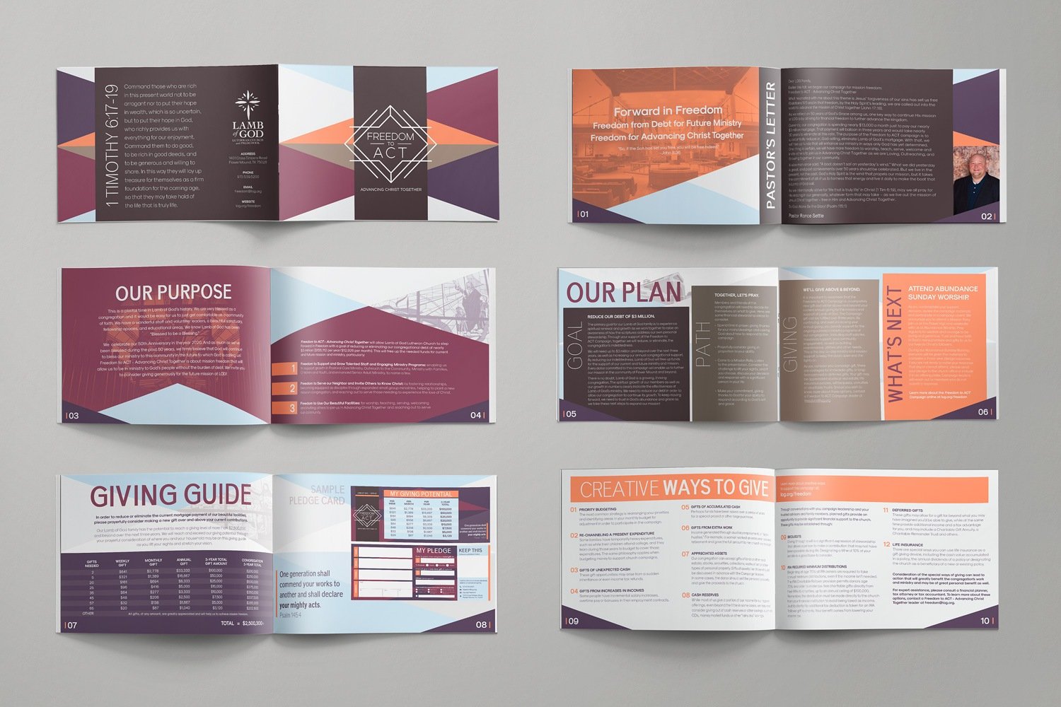 6x 9in brochures for church fundraising samples, booklet for capital campaigns by Abstract Union