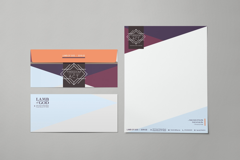 church campaign letterhead and envelopes set, 8.5x11in letterhead and No10 envelope sample letter by Abstract Union