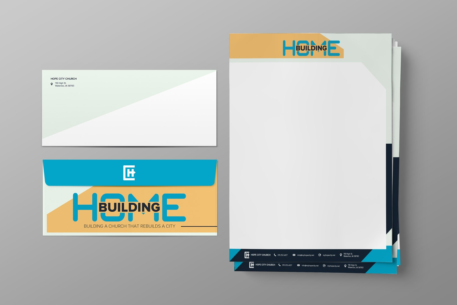 Letterhead and envelope set for church fundraising and capital campaign stewardship, materials examples by Abstract Union