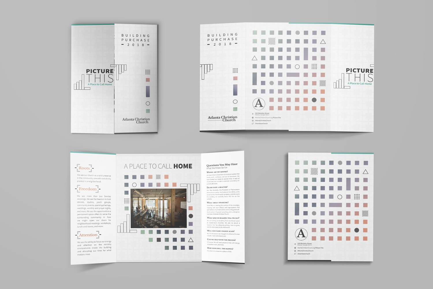 Minimalist design open gate brochure for church fundraising by Abstract Union